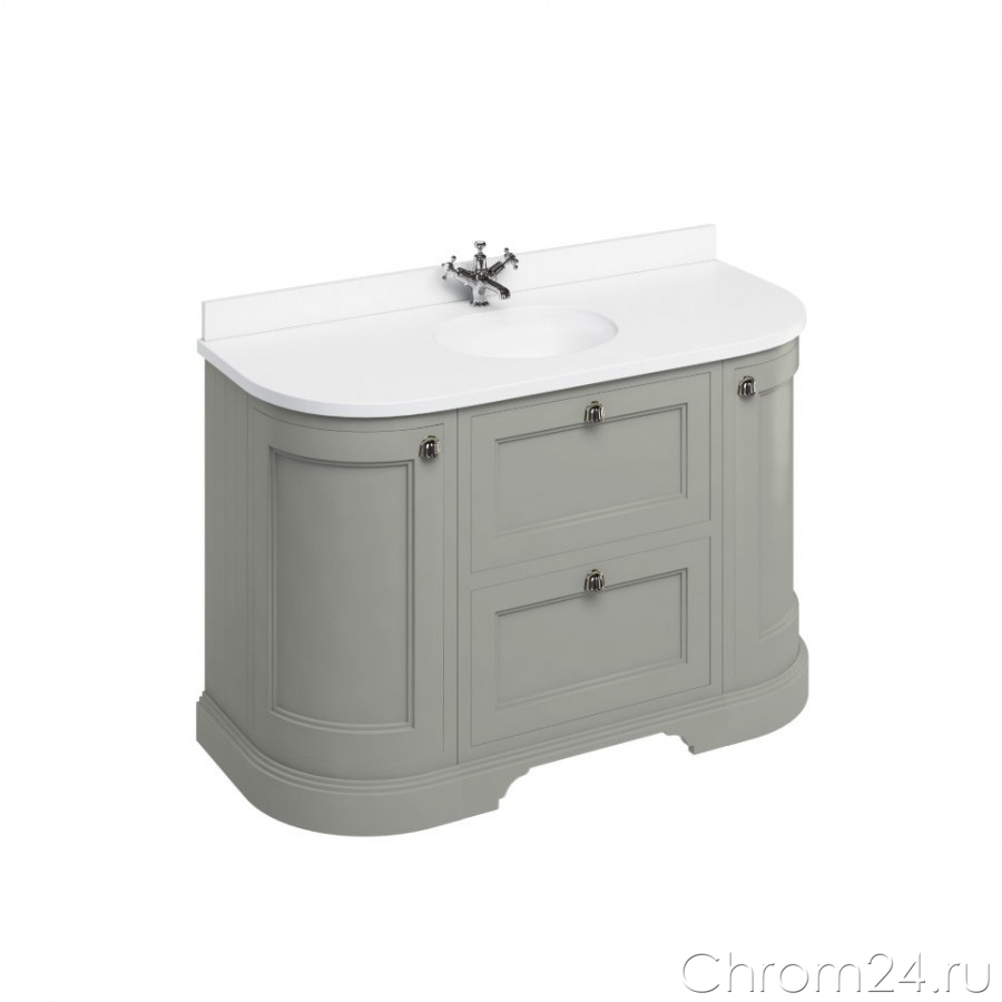 Freestanding Curved Vanity Unit With Drawers (Burlington)